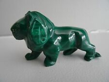 "3.25"" LION Genuine MALACHITE Hand Carved African Congo Figurine Polished"