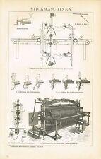 Tafel STICKEREI / STICKMASCHINEN 1895 Original-Holzstich
