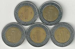 5 BI-METAL 1 PESO COINS from MEXICO (2004, 2005, 2006, 2007 & 2008)