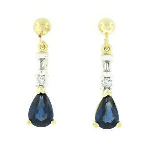 Estate 14k Gold Pear Sapphire & Diamond Petite Drop Dangle Teardrop Earrings