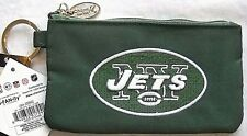 NEW YORK JETS EMBROIDERED LOGO GREEN ZIPPER PHOTO ID PURSE & KEYCHAIN ATTACHMENT