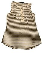 WHITE HOUSE BLACK MARKET Womens Small Striped Flowing Tank Top Sleeveless Shirt