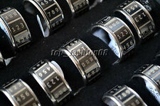 Wholesale Jewelry 10pcs Black Silver Stainless Steel 11mm Rolling Rings FREE