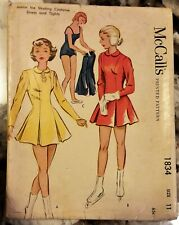 Uncut 1953 Vintage Pattern Jr Ice Skating Costume Dress Tight McCalls 1834 Sz 11