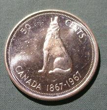 1967 CANADA 50 Cents silver coin Wolf - HIGH GRADE half dollar
