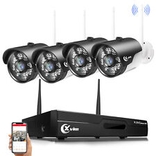 Xvim Wireless Security Camera System 1080P 2Mp Outdoor Wifi Camera 4Ch Nvr Kit