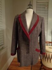 SALVATORE FERRAGAMO wool & mohair tweed blazer women's US 14 made in Italy