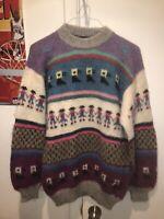 Vintage Alpaca knit sweater Peruvian alpaca Fuzzy womens Size L/Xl New