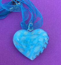 NEW Blue & White Glass Heart 3D Pendant Ribbon & Cord Necklace - Aussie Seller!!