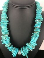 Native American Navajo Pearl Sterling Silver Turquoise Nugget Necklace 20""