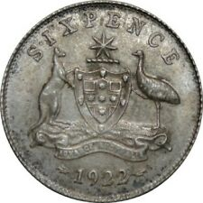 1922 Australia King George V Sixpence Silver Coin