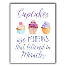 CUPCAKES MUFFINS METAL WALL PLAQUE Sign humorous vintage print kitchen decor