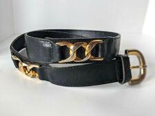 Vintage Furla Belt Black Leather Gold Buckle Chain Designs Italy 1980s Sz S Xs