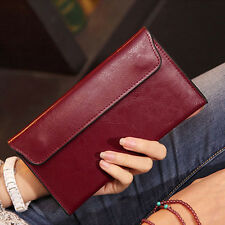 Women Clutch Long Purse Genuine Leather Wallet Card Holder Handbag Phone Bag Red