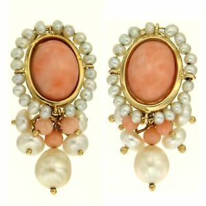 18k 18ct 18 kt Yellow GOLD Pink CORAL and Freshwater PEARL Clip On Earrings