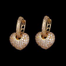 14k Gold Heart Earrings made w/ Swarovski Crystal Pave Bling Stone Designer