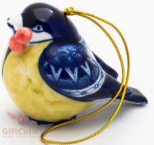 Gzhel porcelain Parus Great tit bird Christmas Tree ornament figurine handmade