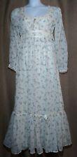 """Vintage 1970's """"Gunne Sax Like"""" Maxi Dress Size 7/8 White Floral Boho"""