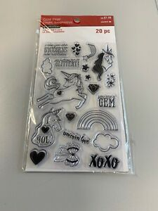 Recollections Clear Stamp Set Unicorn Rainbow Love Stars NEW 20 Pieces