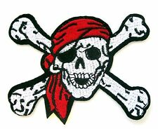 Pirate Skull And Cross Bones Iron On Patch- Kids Embroidered Applique Badge
