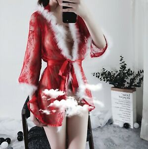 Christmas Bathrobe Sexy-Lingerie Backless Lace Women Transparent Pajamas US Ship