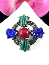 LOVELY SIGNED MIRACLE CARNELIAN LAPIS LAZULI CABOCHON STONE CELTIC CROSS BROOCH