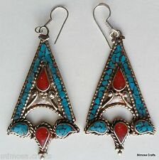 Ear Rings - Handmade Antique Style Turquoise Coral Drop Dangle Earrings ER-70