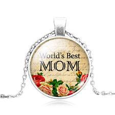 Hot Vintage Cabochon Tibetan Silver Glass Mom Charm Pendant Necklace #189