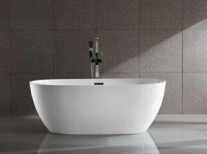 fluire Jordan 1600 mm Freestanding Modern Oval Bath Acrylic Bath Tub NEW White