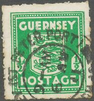 GB GUERNSEY 1941 1/2d Arms of Guernsey VFU emerald-green VARIETY: white line