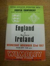 22/11/1967 England v Northern Ireland [At Wembley] (Writing on front, team chang
