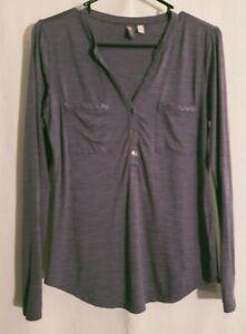 Ibex-Women Heather Purple Blue Gray Long Sleeve Knit Zque Merino Wool Top-SMALL