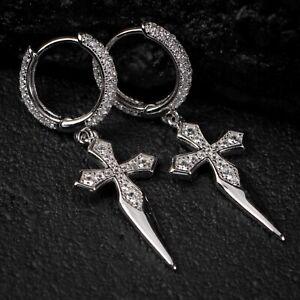 Men's Sterling Silver Hanging Iced Cross Dagger Dangle Huggie Hoop Earrings