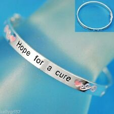 Pink Ribbon Breast Cancer Awareness Hope for Cure Hinged Bangle Bracelet #395-A