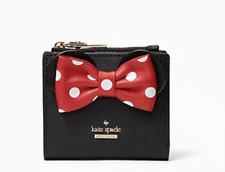 Kate Spade Minnie Mouse Adalyn Saffiano Black Leather Wallet Small Bifold NWT
