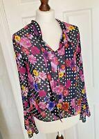 Natasha Zinko Vibrant Pink Yellow Floral / Black Polka Dot Top Shirt - Size 8