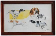 Étude de chiens de chasse aquarelle d'Henri Fanjul