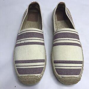 Tory Burch Espadrille Flats Cream Striped Women's 8.5