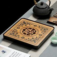 Bamboo Wooden Tea Tray Drainage Imitation Ceramic Chinese Board Water Storage