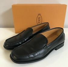 WOMEN'S TOD'S BLACK LEATHER 'WINDSOR' LOAFERS - FR 36.5 / UK 4 - IMMACULATE £360