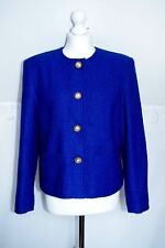 d26 vintage C&A navy blue Boucle Blazer Anchor gold buttons size 14