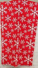 Red Snowflake Christmas Tablecloth Cotton Fabric 84x60 Rectangle Metallic Silver