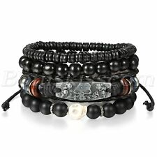 4pcs Mens Womens Handmade Punk Leather Skull Rose Buddha Beads Bracelet Cuff Set