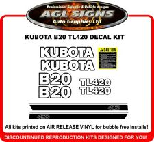 KUBOTA  B20  TL420  4WD TRACTOR DECAL SET , reproductions
