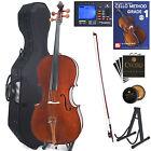 Cecilio 4/4 3/4 1/2 1/4 Handmade Solidwood Cello +Hard & Soft Case+Tuner~CCO-300