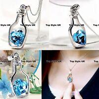 Unique Necklace Bottle Holding Sapphire Heart Diamond - Best Friend Lovers Gift
