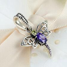 Dragonfly Silver CZ European Charm Beads Fit 925 Pendant Necklace Bracelet