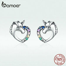 US Center Women S925 Sterling silver Stud Earring Horse mix-Color CZ Jewelry