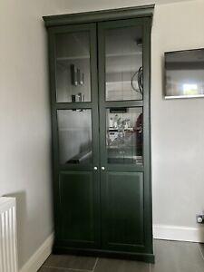 ikea Liatorp Bookcase With Glass Doors, 5 Shelves, Dark Green, 96x214cm