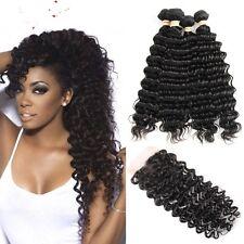 8A 300g/3bundles Unprocessed Brazillian Deep Wave Human Hair & Closure